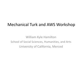 Mechanical Turk and AWS Workshop