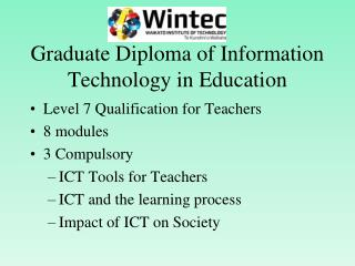 Graduate Diploma of Information Technology in Education
