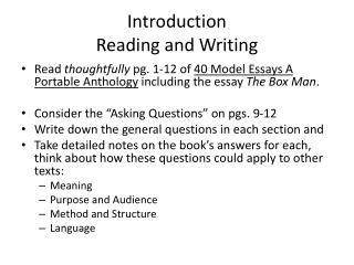 Introduction Reading and Writing