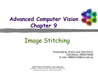 Advanced Computer Vision Chapter 9