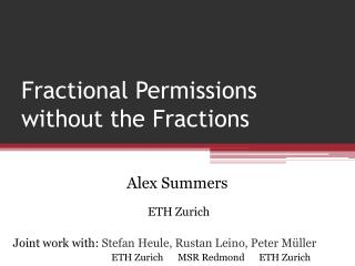 Fractional Permissions without the Fractions