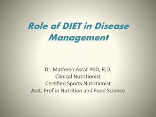 Role of DIET in Disease Management