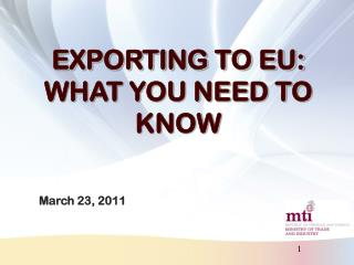 EXPORTING TO EU: WHAT YOU NEED TO KNOW