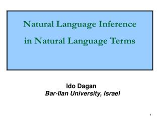 Ido Dagan	   Bar- Ilan  University,  Israel