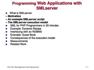 Programming  Web Applications with  SMLserver