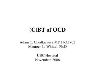 (C)BT of OCD