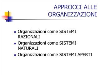 approcci alle organizzazioni