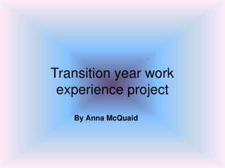 Transition year work experience project