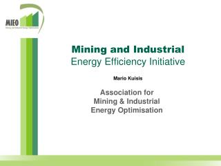 Mining and Industrial Energy Efficiency Initiative Mario Kuisis