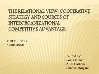THE RELATIONAL VIEW: COOPERATIVE STRATEGY AND SOURCES OF INTERORGANIZATIONAL COMPETITIVE ADVANTAGE