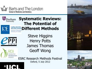 Systematic Reviews: The Potential of Different Methods  Steve Higgins Henry Potts James Thomas Geoff Wong ESRC Research