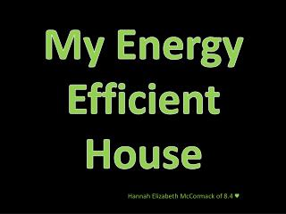 My Energy  Efficient House
