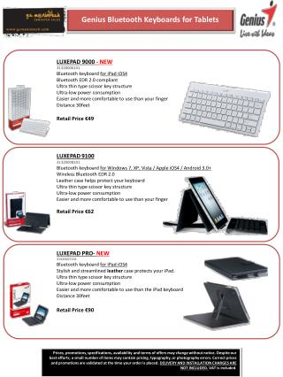 LUXEPAD 9100 31320008101 Bluetooth keyboard  for Windows 7, XP, Vista / Apple iOS4 / Android 3.0 + Wireless  Bluetooth