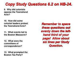 Copy Study Questions 6.2 on NB-24.