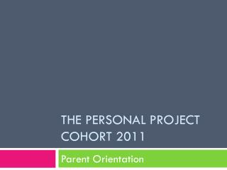 The Personal project cohort 2011