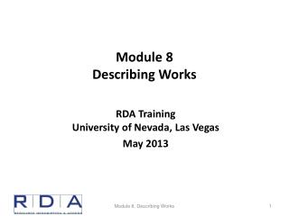 Module  8 Describing Works