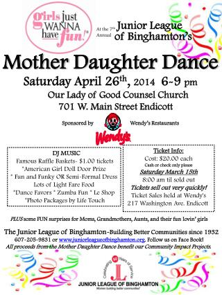 Saturday April 26 th ,  2014 6-9  pm        Our Lady of Good Counsel Church 701 W. Main Street Endicott