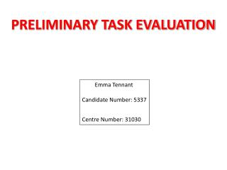 PRELIMINARY TASK EVALUATION