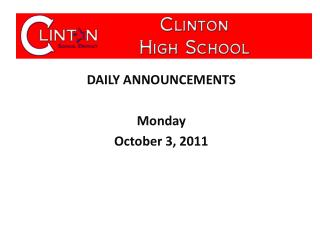 DAILY ANNOUNCEMENTS Monday October 3, 2011