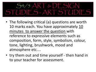 S4/5 ART & DESIGN STUDIES - ART STUDIES