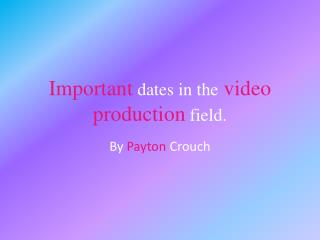 Important dates in the video production field.