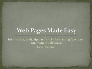 Web Pages Made Easy