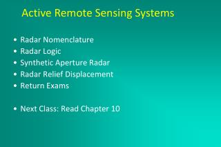 Active Remote Sensing Systems March 2, 2005