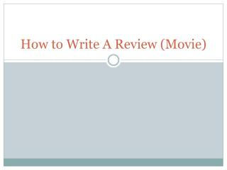 How to Write A Review (Movie)