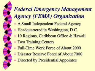 Federal Emergency Management Agency (FEMA) Organization