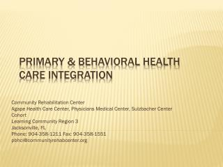 Primary & Behavioral Health Care Integration