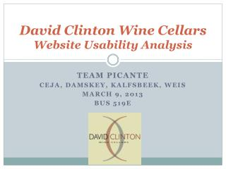 David Clinton Wine Cellars  Website Usability Analysis