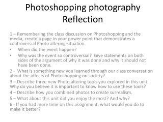 Photoshopping photography Reflection
