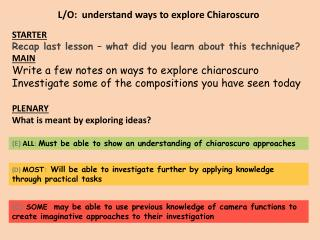 L/O: understand ways to explore Chiaroscuro
