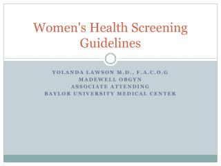 Women's Health Screening Guidelines