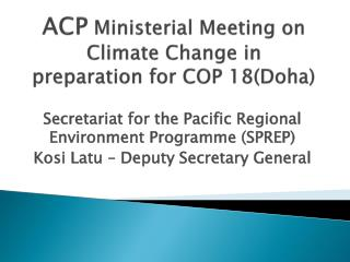 ACP  Ministerial Meeting on Climate Change in preparation for COP 18(Doha)