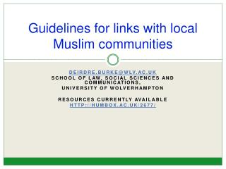 Guidelines for links with local Muslim communities