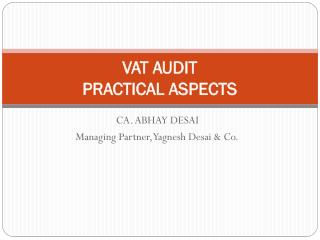 VAT AUDIT  PRACTICAL ASPECTS