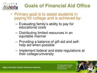 Goals of Financial Aid Office