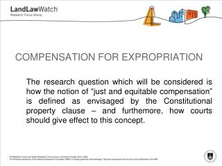 COMPENSATION FOR EXPROPRIATION