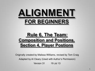 ALIGNMENT  FOR BEGINNERS  Rule 6, The Team:  Composition and Positions, Section 4, Player  Postions