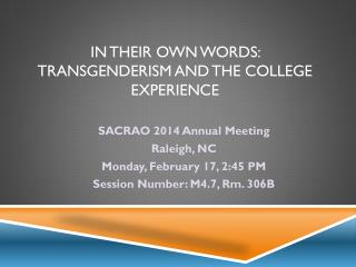 In their own words:  Transgenderism and the college experience