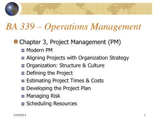 BA 339 – Operations Management