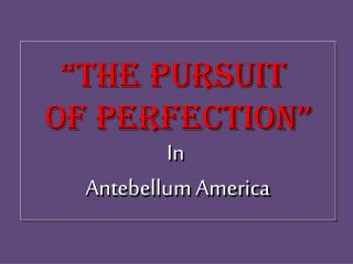 """The Pursuit  of Perfection"" In  Antebellum America"