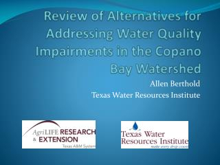 Review of Alternatives for Addressing Water Quality Impairments in the Copano Bay Watershed