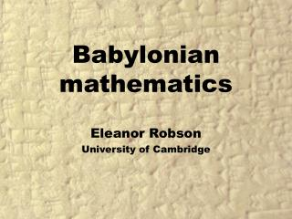 Babylonian mathematics