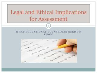 Legal and Ethical Implications for Assessment