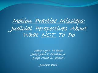 Motion  Practice  Missteps: Judicial  Perspectives  About What   NOT   To  Do   Judge  Lynn  M. Egan Judge  John  P. Cal