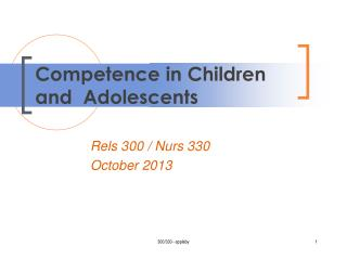 Competence in Children and   Adolescents