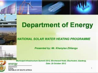 Municipal Infrastructure Summit 2012, Birchwood Hotel, Ekurhuleni, Gauteng.  Date: 26 October 2012