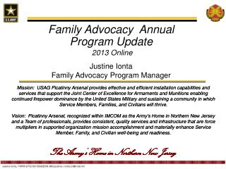 Family Advocacy  Annual Program Update 2013 Online Justine  Ionta Family Advocacy Program Manager